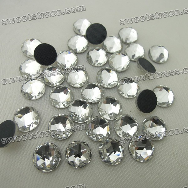 Crystal Faceted Round Shaped Rhinestones Flats