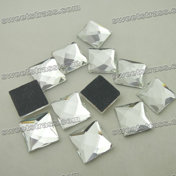 Crystal Faceted Square Shaped Flat Crystal Rhinestone Hotfix