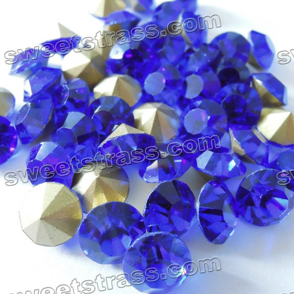 China Pointed Back Rhinestones Chatons Sapphire