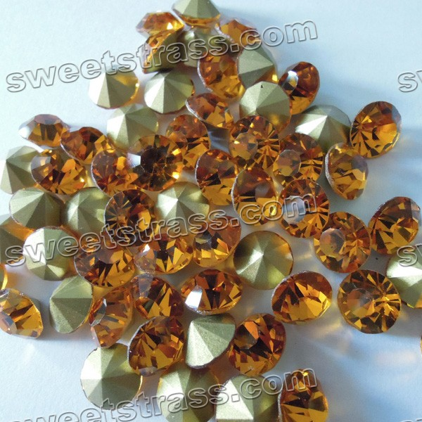 China Pointed Back Crystal Chatons Wholesale Topaz