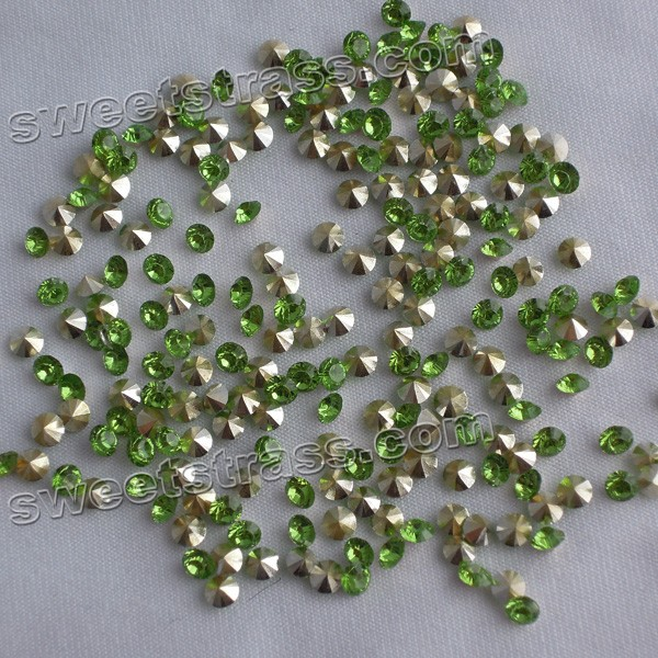 Epoxy Chaton Crystals Pointed Back Green
