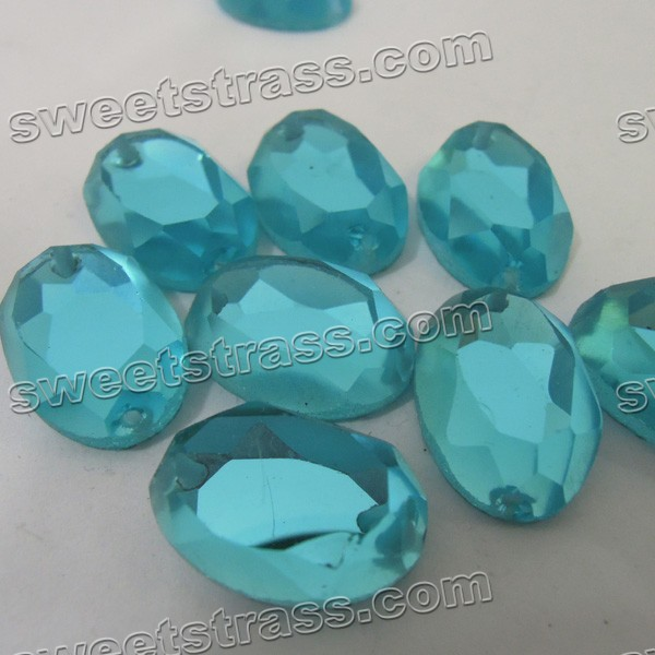 Fancy Stone Pointed Back Crystal - Aqumarine Ellipse