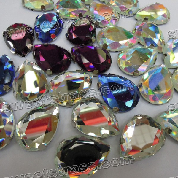 Sew On Glass Rhinestones With Settings Tear Drop