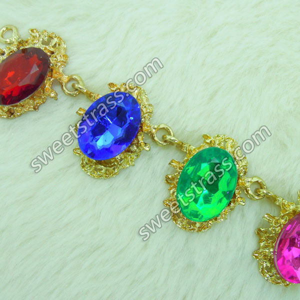 2015 New Design Gemstone And Crystal Chains Trim Wholesale