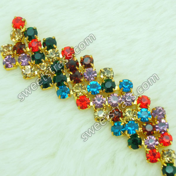 Wholesale Colorful Rhinestone Crystals Chain Trim