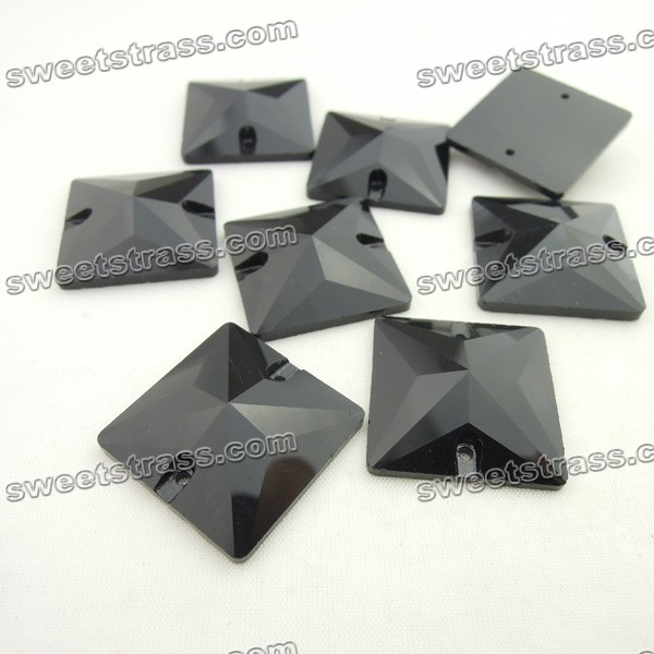 Flat Back Sew On Glass Rhinestone Jewels Wholesale-Square Black