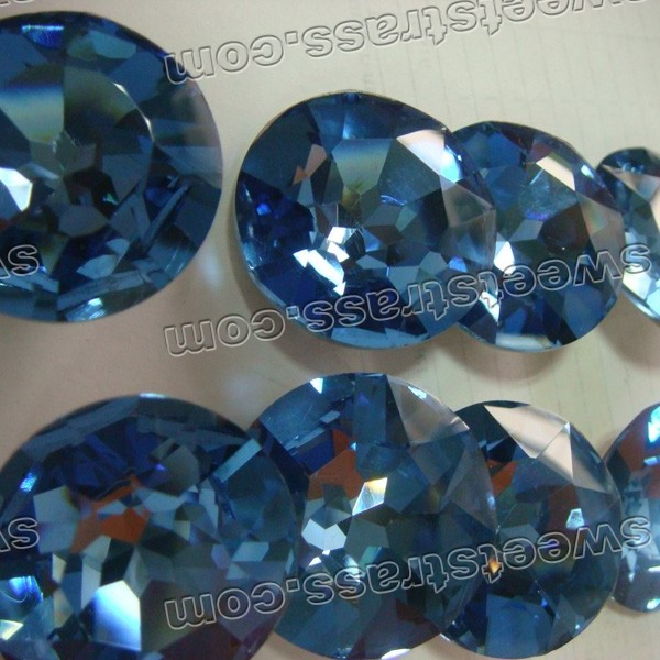 Faceted Round Shaped Blue Pointed Back Glass Strass Stones Wholesale