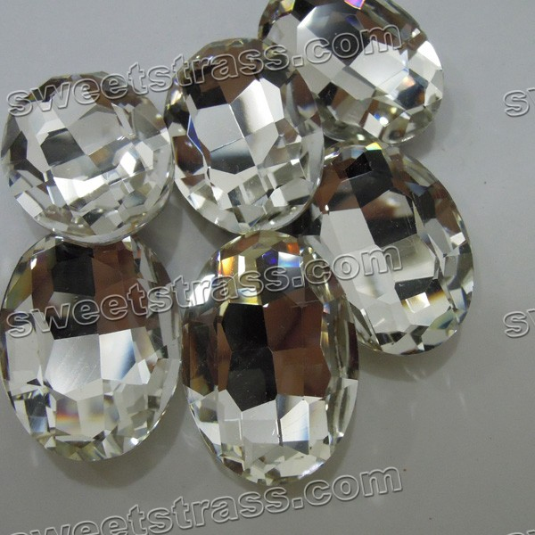 Faceted Egg Shaped Clear Pointed Back Glass Gemstones Wholesale