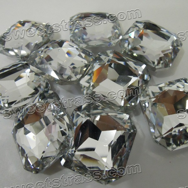 Faceted Rectangle Shaped Crystal Pointed Back Glass Cabochons Wholesale