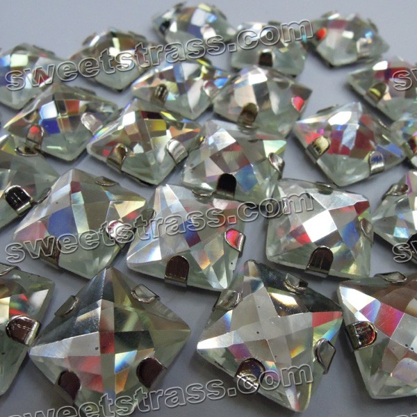 Wholesale Sew On Faceted Square Glass Rhinestones With Prong