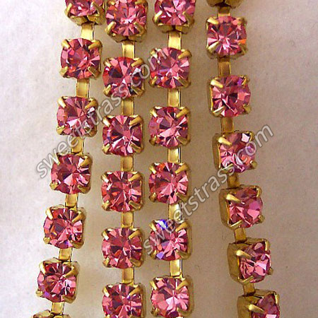 Light Rose Crystal Rhinestone Chaton Chain Wholesale