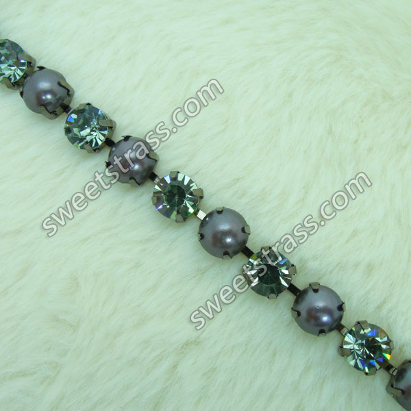 Wholesale Pearl Rhinestone Cup Chain Trim Jewelry For Cloth