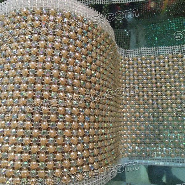 24 Rows Silver Metal Set Pearl Crystal Mesh Roll Wholesale