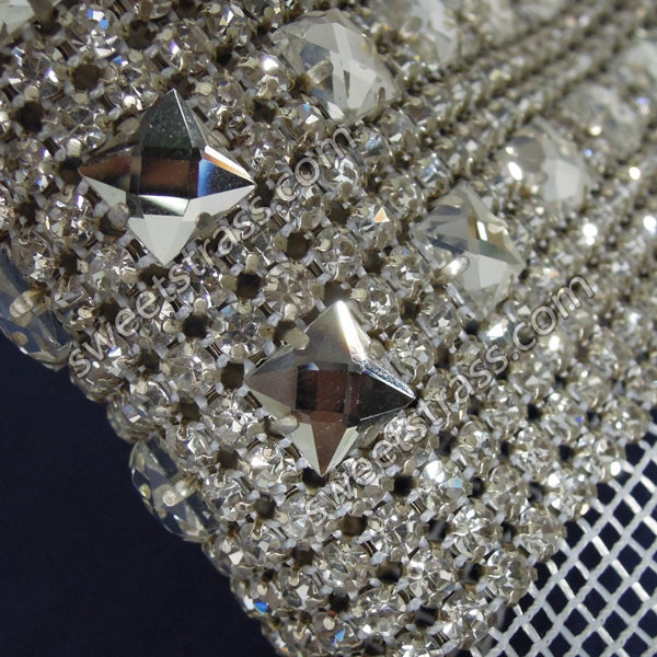 Wholesale 24 Rows Square And Round Diamond Rhinestone Ribbon Mesh