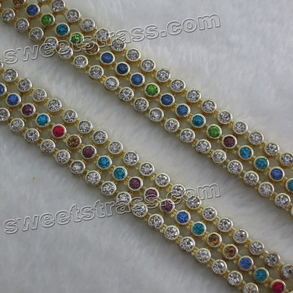 Wholesale Plastic Gold Rhinestone Ribbon Trimming