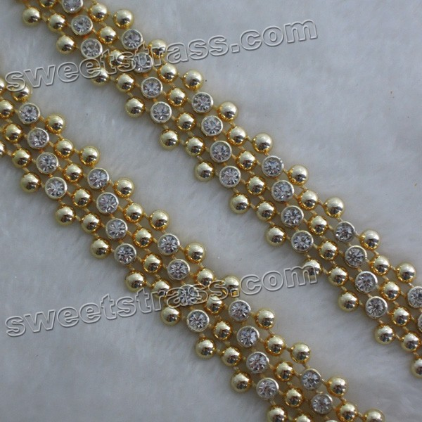 Wholesale Plastic Ribbon Gold Crystal Rhinestone Banding