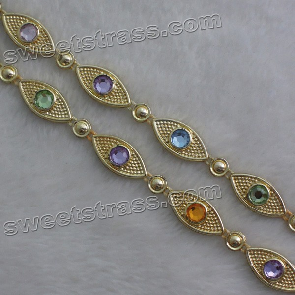 Wholesale Plastic Gold Crystal Rhinestone Banding Trim