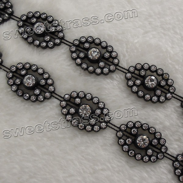 Wholesale Plastic Black Crystal Rhinestone Ribbon For Shoes