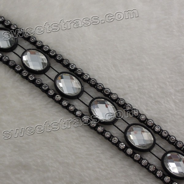 Wholesale Plastic Faceted Rhinestone Stone Banding Trim
