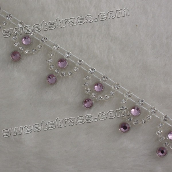 Plastic Purple Rhinestone Trim Ribbon Jewelry Wholesale