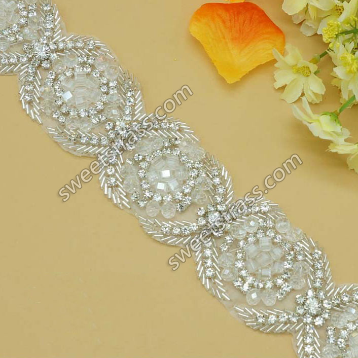 2015 Bridal Crystal Rhinestone Appliques Trim By The Yard
