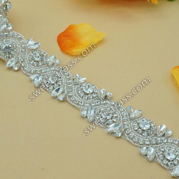 2015 Bling Decorative Custom Sash Rhinestone Appliques Trim