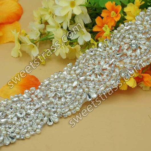 2015 Custom Pearl Crystal Sash Applique Trim By The Yard