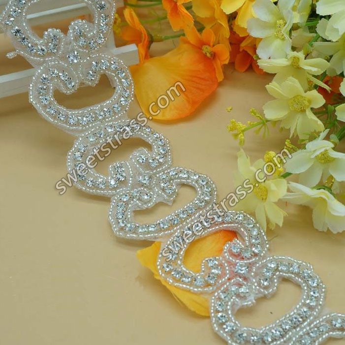 2015 Custom Rhinestone Belt Applique Trimming For Wedding Dress