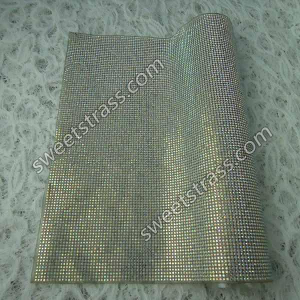 China Factory Wholesale 24*40cm Iron On Rhinestone Strass Mesh Patch