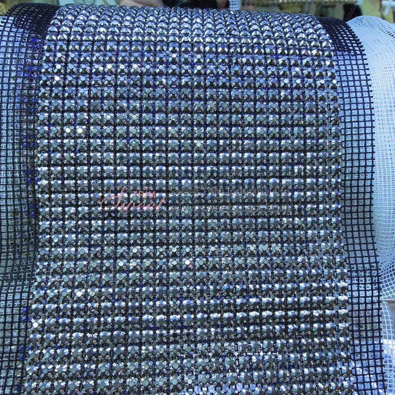 Gray Hematite Diamond Rhinestone Mesh Ribbon Manufacturers In China