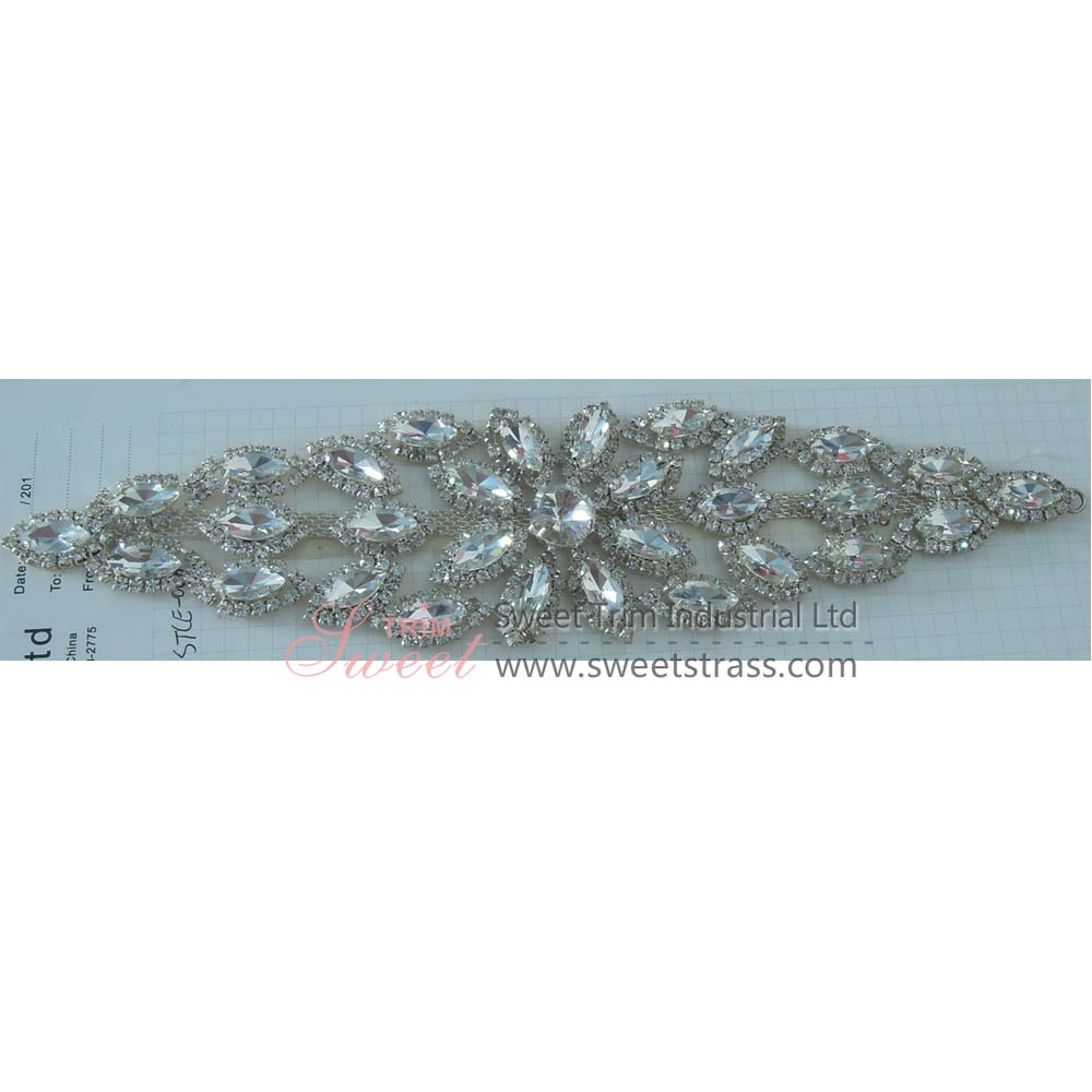 Wholesale Bridal Beaded Rhinestone Appliqués For Dress