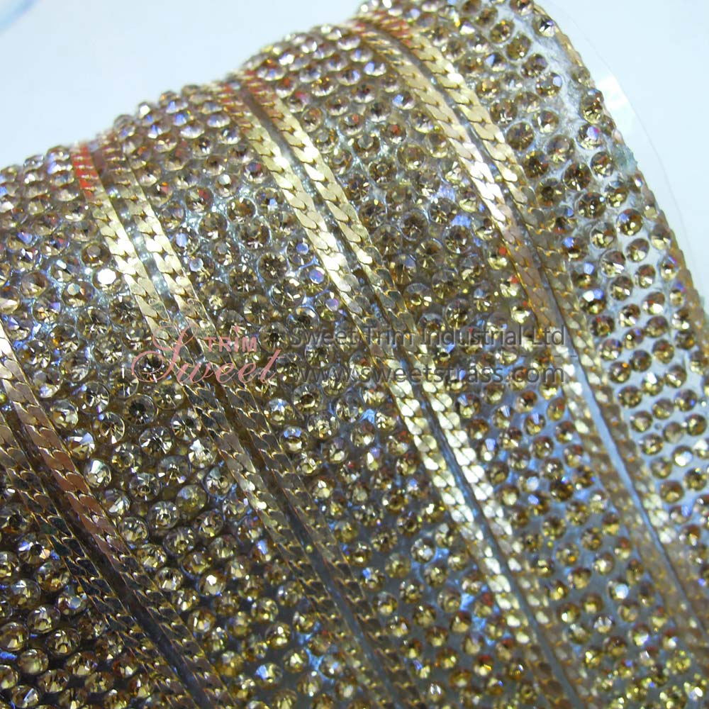 Wholesale Hot Fix Copper Chain And Strass Rhinestone Strip