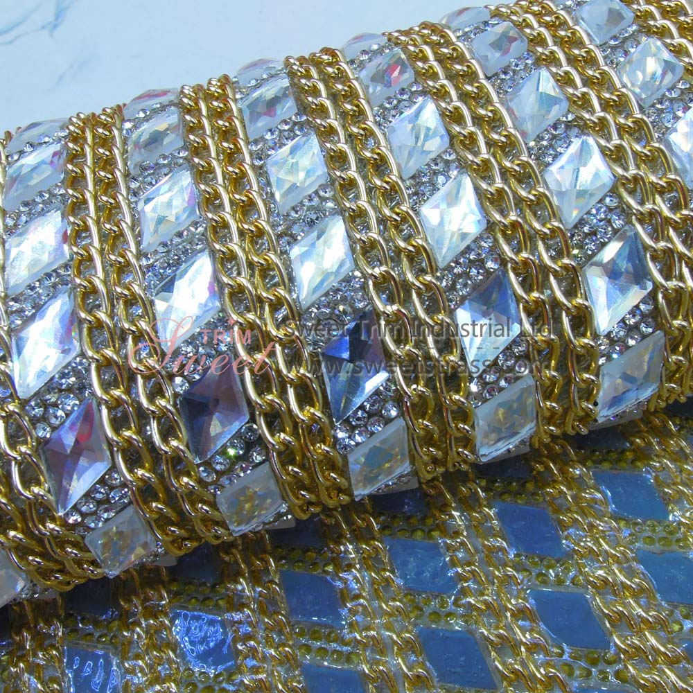 Adhesive And Hot Fix Chain Glass Diamonds Stone Sheet Wholesale