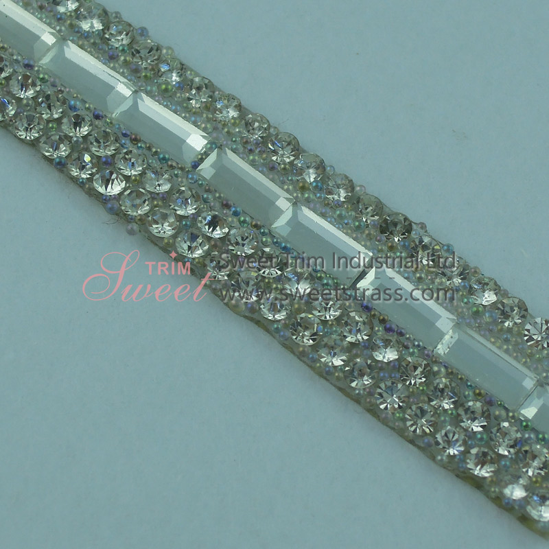 Wholesale Hot Fix Strass Rhinestone And Beaded Strip Trim