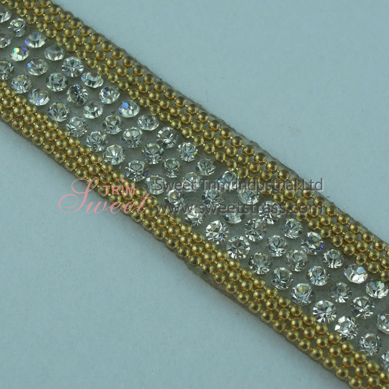 Hotfix Sticky Metal Chain And Rhinestone Strip Trim Wholesale