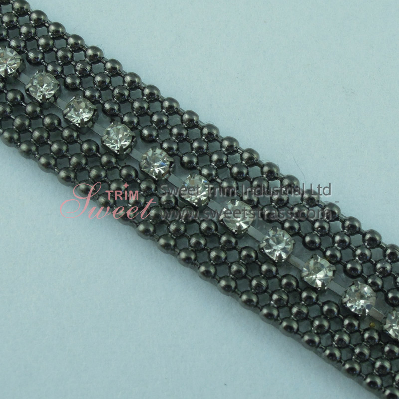 Hotfix Metal Chain And Rhinestone Chain Strip Trim By The Yard