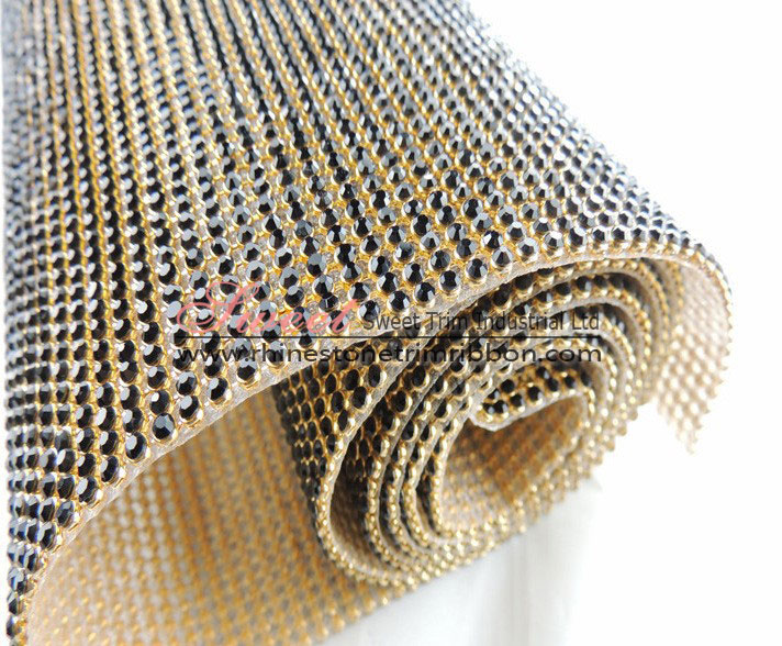 45*120cm Gold Metal Adhesive Hot Fix Rhinestone Mesh Manufacturer