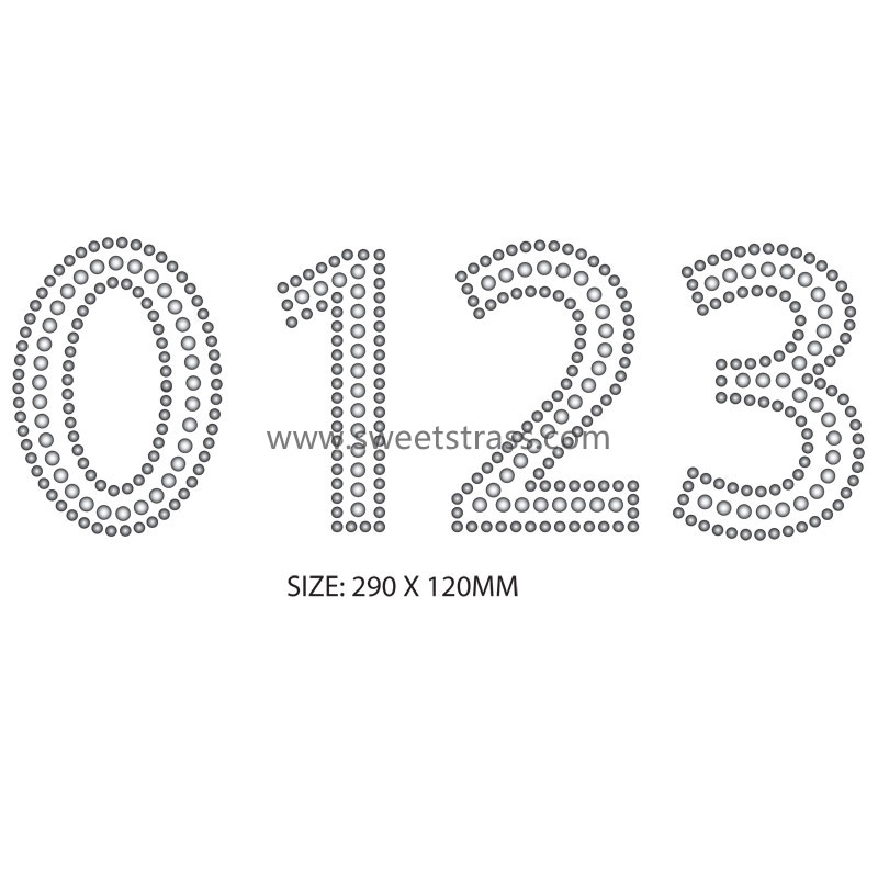 Number iron on motif rhinestone hot fix transfer