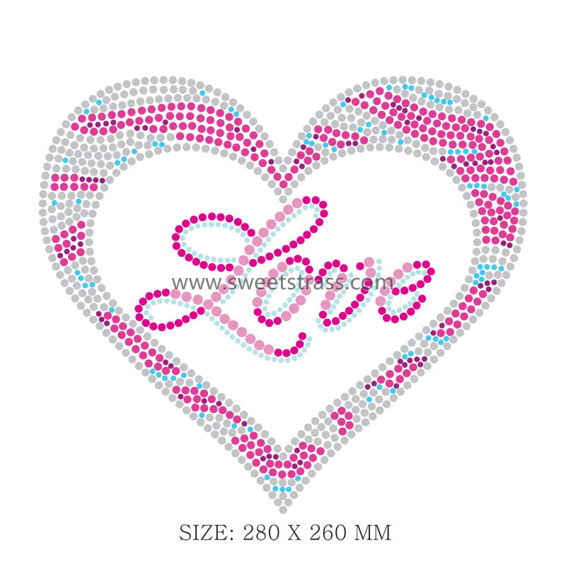 Heart Shaped Iron On Strass Rhinestone Designs Patterns
