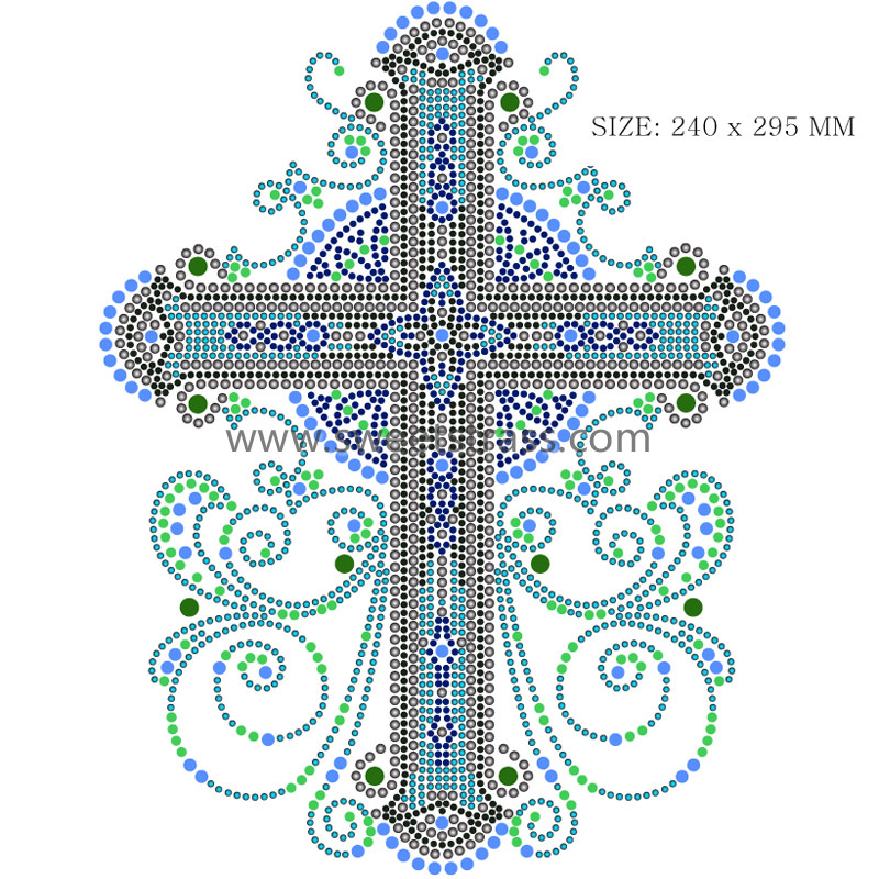 Cross Pattern Rhinestone Heat Press Transfers