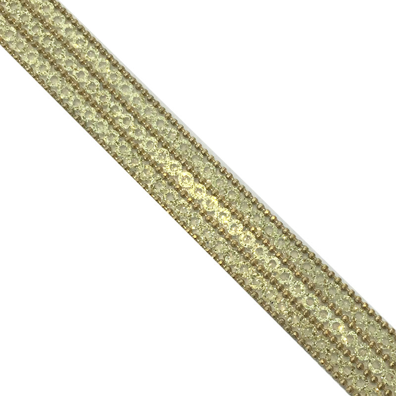 Factory wholesale 1.5cm hotfix brass chain and  Sequins trimming