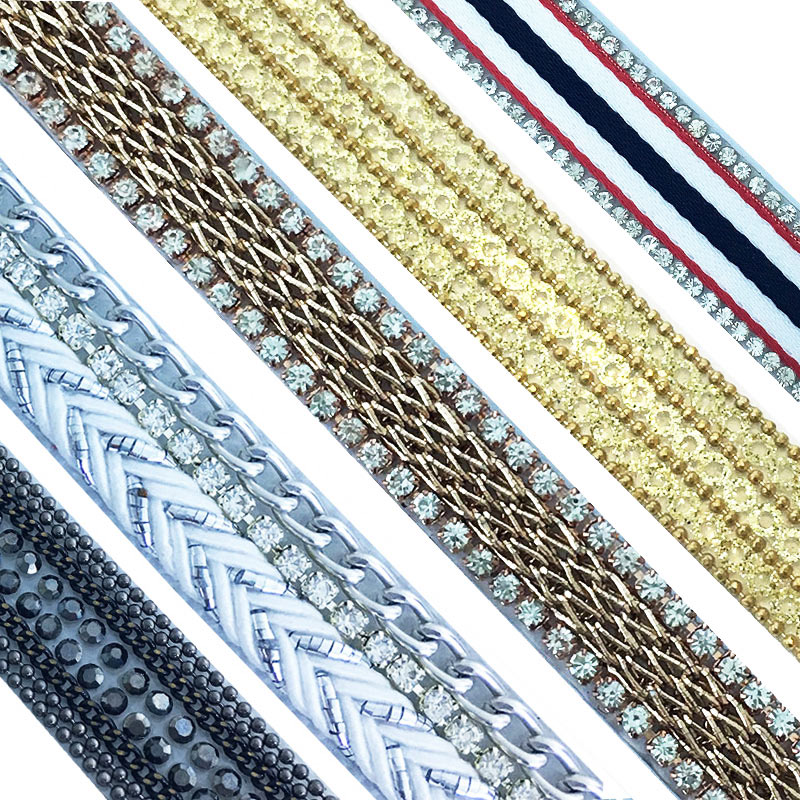 ​Factory wholesale diamond chain and rope iron on strip hot fix fringe