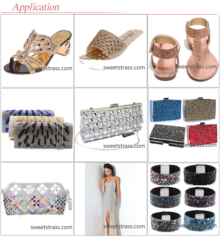 factory wholesale hotfix rhinestone Trimming Mesh for shoes bag garment
