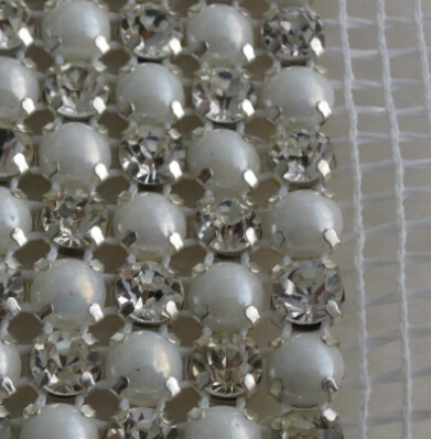 Pearl Crystal Mesh Ribbon Rhinestone Band Trim