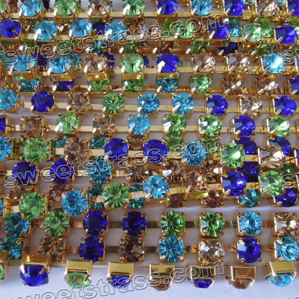 Cupchain With Rhinestones Blue and Green Golden Plated