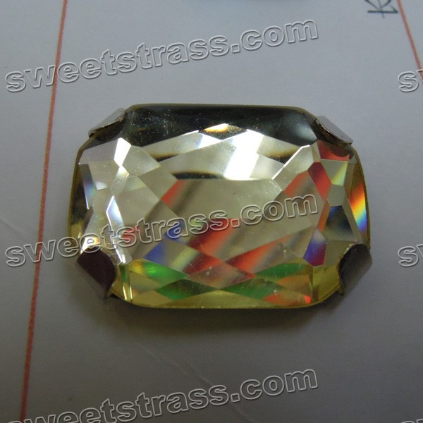 Wholesale Sew On Rectangle Faceted Glass Jewels Prong Set