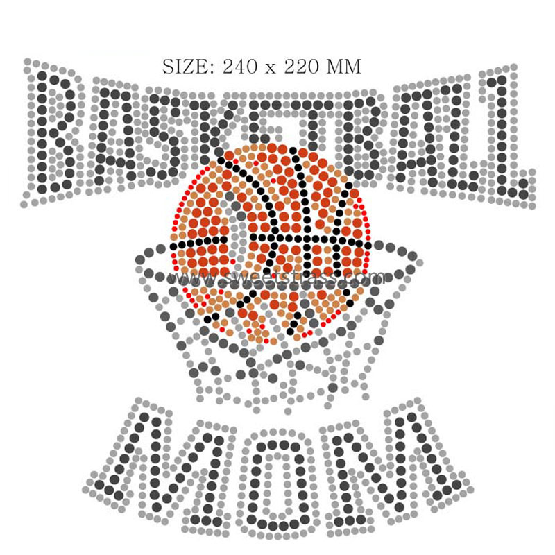 Basketball Design Pattern Rhinestone Iron Ons