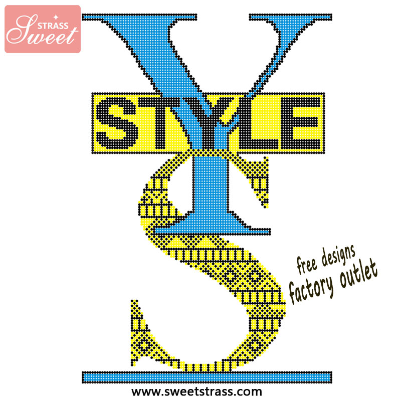 yellow blue rhinestone hot fix tranfer T-shirt design motif
