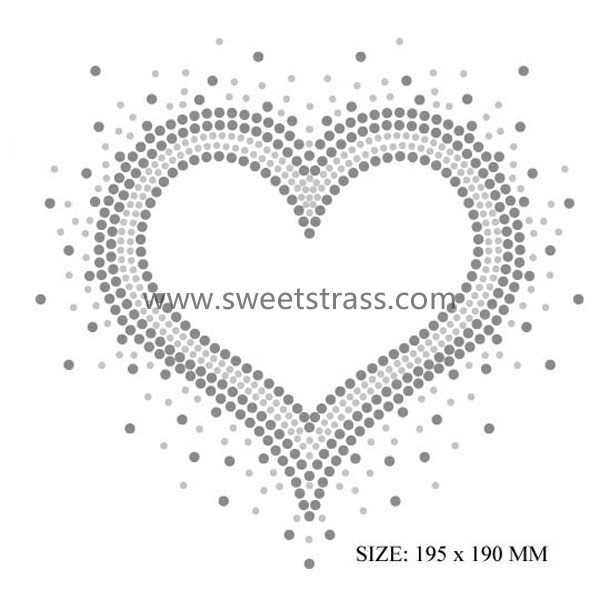 Direct supply 195X190mm heart shape stone sticker