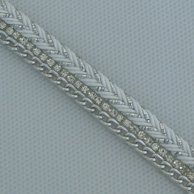 Factory custom made rhinestone chain and rope with hot melt adhesive film